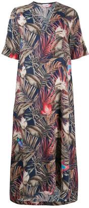 813 Floral Print Silk Midi Dress