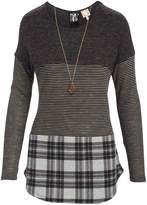 Tru Self Women's Tunics Black/Heather - Black & Gray Plaid Color-Block Lace-Back Tunic - Women