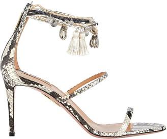 Aquazzura Beaded Python-Embossed Sandals