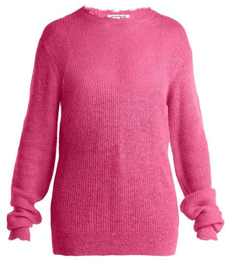Helmut Lang Frayed Trim Sheer Knit Sweater - Womens - Pink