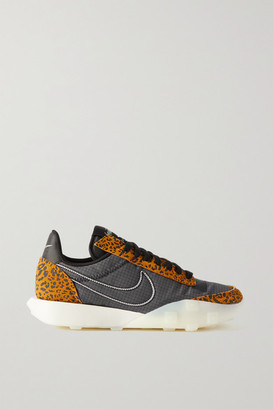 Nike Waffle Racer 2x Ripstop And Leopard-print Suede Sneakers - Black