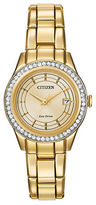 Citizen Eco-Drive Silhouette Crystal Accent Goldtone Stainless Steel Bracelet Watch