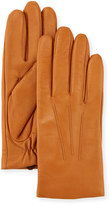Neiman Marcus Three-Point Leather Gloves w/ Faux-Fur Lining, Tan
