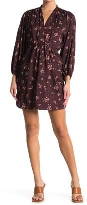 Love Stitch Floral Waist Tie Mini Dress
