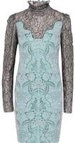 Lanvin Metallic Lace-Paneled Brocade Dress
