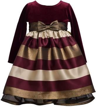 Bonnie Jean Toddler Girl Long Sleeve Velvet and Taffeta Stripe Empire Dress with Bow