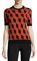 Michael Kors Short-Sleeve Deco-Cube Cashmere Sweater, Coral