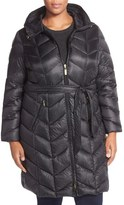 Ellen Tracy Chevron Quilted Down Coat (Plus Size)