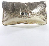 Sorial Gold Metallic Stitch Trim Wrinkling Twist Lock Casual Clutch