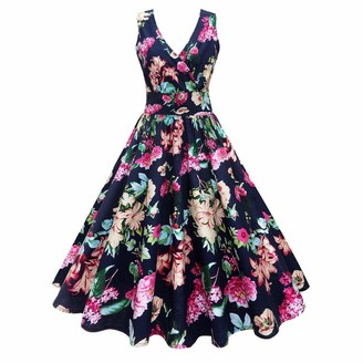 MRULIC Spring Summer Women Plus Size Floral Print Vintage Gown Sleeveless Party Prom Swing Dress Valentine's Day (Navy UK-10/CN-M)