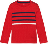 Gap Pure Red Contrast Stripes Long Sleeve Slub Tee