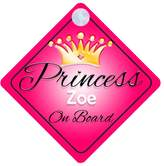 mybabyonboard UK Princess Zoe On Board Personalised Girl Car Sign Baby / Child Gift 001
