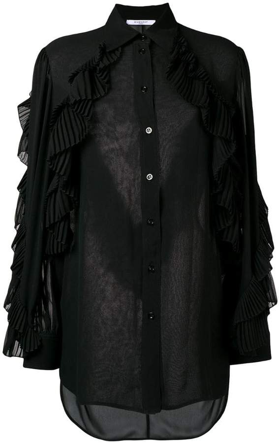 Givenchy ruffled style transparent blouse