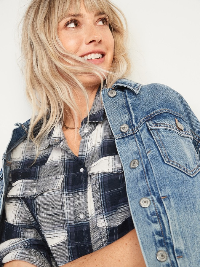 Thumbnail for your product : Old Navy Flannel Western Shirt Shift Dress for Women