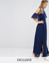 TFNC WEDDING High Neck Maxi Dress with Frills