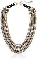 Steve Madden 8 Layer Rope with Black Leather Buckle Chain Necklace