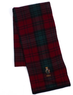 Polo Ralph Lauren Men's Toggle Bear Plaid Scarf