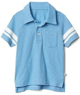 Stripe-sleeve slub polo