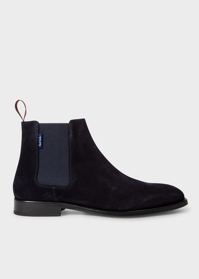 Paul Smith Men's Dark Navy Suede 'Gerald' Chelsea Boots