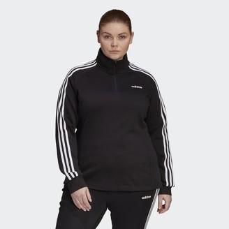 adidas Essentials 3-Stripes 1/4 Zip Fleece Track Jacket (Plus Size)