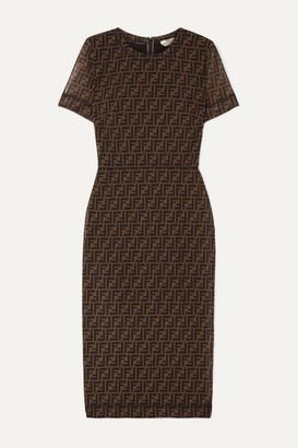Fendi Printed Stretch-mesh Midi Dress - Brown