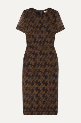 Fendi Printed Stretch-mesh Midi Dress
