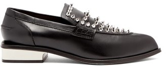 Alexander McQueen Studded Point-toe Leather Loafers - Black