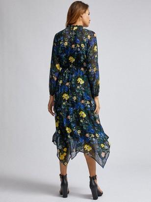 Dorothy Perkins Floral Chiffon Hanky Hem Midi Dress - Black
