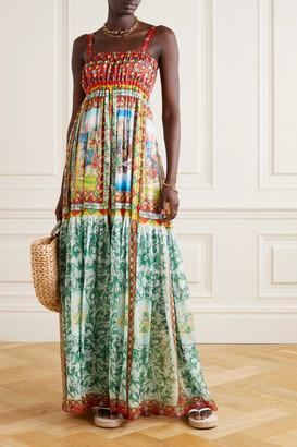 Dolce & Gabbana - Printed Silk-chiffon Gown - Green