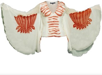 Philosofée By Glaucia Stanganelli Hand-Painted Silk Blouse With Lotus Flower Print In Butterfly Sleeves