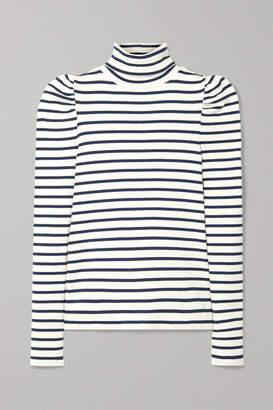 Veronica Beard Cedar Striped Ribbed Pima Cotton-blend Turtleneck Top - White