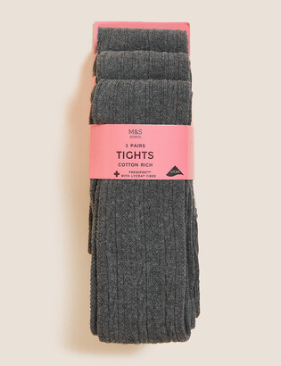 Marks and Spencer 3 Pack of Cable Knit Tights (4-14 Yrs)