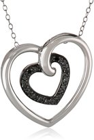 """Amazon Collection Sterling Silver Diamond Heart in Heart Pendant Necklace (.17 cttw), 18"""""""