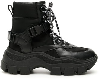 Prada Buckle Detail Lace Up Boots