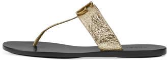 Gucci Marmont Flat Metallic Leather Thong