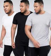 Asos Plus 3 Pack Longline Muscle T-Shirt With Crew Neck Save