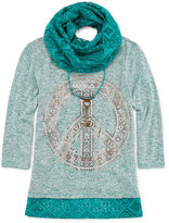 Knitworks Knit Works 3/4-Sleeve Top and Lace Scarf - Girls 7-16 and Plus