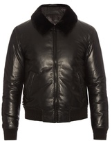 Alexander Mcqueen Fur-collar Padded Leather Bomber Jacket