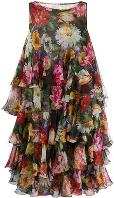 Dolce & Gabbana Tiered Floral Print Dress