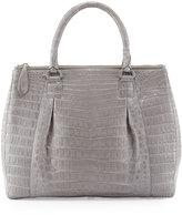 Nancy Gonzalez Executive Double-Zip Crocodile Tote Bag, Gray
