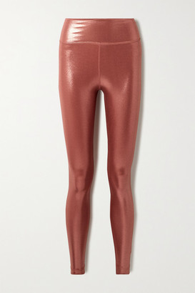 Nike Icon Clash Cropped Metallic Dri-fit Leggings - Coral