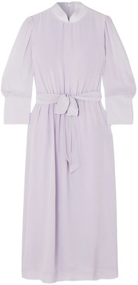 Simone Rocha Belted Silk Crepe De Chine Midi Dress