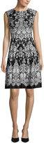 Studio 1 Sleeveless Scroll Print Scuba Fit-and-Flare Dress