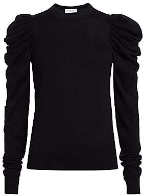 Michael Kors Women's Ruched Puff-Sleeve Cashmere, Wool & Silk Knit Sweater