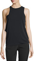 Halston Sleeveless Jewel-Neck Asymmetric Draped Top, Black