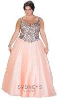 Sydney's Closet - Beaded Illusion Bateau Neck Tulle Ball Gown SC7204