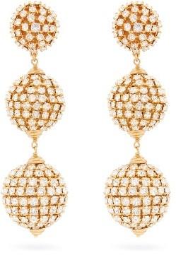 Saint Laurent Crystal-embellished Drop Clip Earrings - White