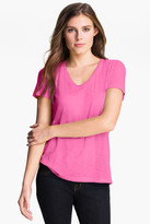 Halogen Relaxed Slub Knit U-Neck Tee (Petite)