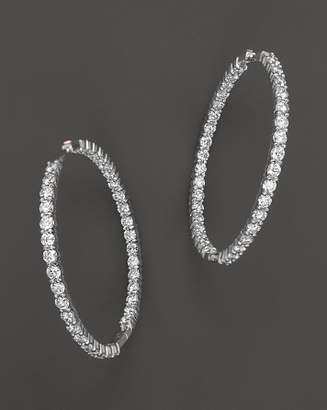 Roberto Coin 18K White Gold Large Diamond Inside Out Hoop Earrings