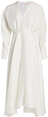 Alejandra Alonso Rojas Linen & Silk Midi Dress